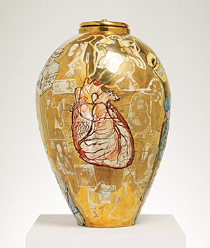 A Grayson Perry urn at Harefield